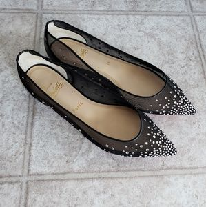 Christian Louboutin Follies Strass Mesh Flats 38.5
